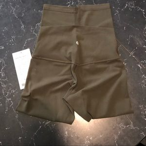 Lululemon Size 4 aligns 21 inches NWT olive green